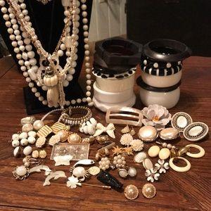 Large lot of black & white VTG jewelry